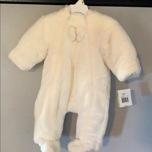 Snow princess white fluffy snow suit 3-6 months